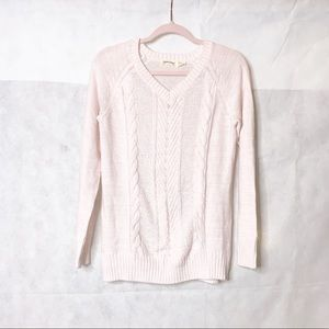Faded Glory | Light Pink V-Neck Cable Sweater | S